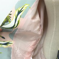 Wholesale autumn winter new long Lady crane birds print loose oversized cocoon women pink trench coat