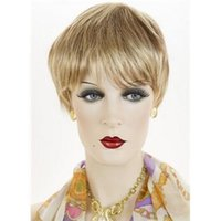 Wholesale Wigs for Cheap Full Bangs Synthetic Hair Short Straight Remy Wig in Blonde Color