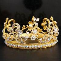 antique diamond tiara - Gold Bridal Crown Alloy Plant Diamonds Sparkle New Arrival Wedding Accessories Hair Tiaras Cospaly Head Wear WWL