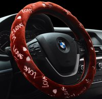 Wholesale LOVE love high quality plush velvet warm winter car steering wheel cover to cover odorless and environmentally friendly cars