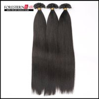 Brazilian Hair Black Straight brazilian virgin flat tip hair extensions Remy Human Hair 8''-28