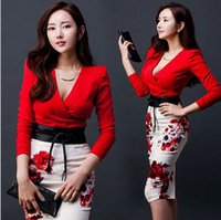 korean - 2 Set Women Girls Long Sleeve Split Printed Dresses Sexy Women Sexy Korean Style OL Deep V Skirt with Belt Outfits B