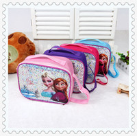 Wholesale 4 styles rozen Children Lunch Bags Elsa anna printed PVC material girl lunch bag kids Snack Pack Children bags