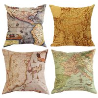 bench cushions - Retro Europe Ikea Style Bed Cushion Throw Pillow Case Cover Bench Chair Hotel Room Home World Maps Atlas Pillowcases Pillow Sham