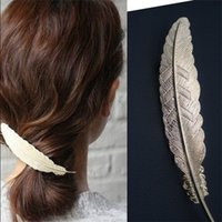 Wholesale Trade jewelry personality exaggerated alloy big feathers golden hairpin clip spring clip hair accessories