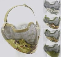 metal face mask - Half face tactics metal net mesh protect mask airsoft hunting Military Multicam colors