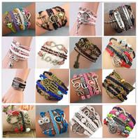 Wholesale Hot sale Infinity Bracelets Charm Bracelets styles fashion Leather Bracelets DIY Antique Cross Bracelets Multilayer Bracelets sl008