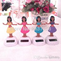 Wholesale Wholesale10 Per Dancing Under Full Light No Battery Novelty Solar Powered Hula Girl Toys Home Car Decoration