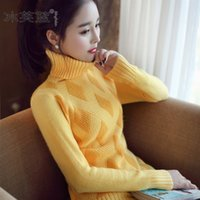 Wholesale Ice fu blue autumn winter new women s clothing Thickening render sweater Cultivate one s morality long sleeve turtleneck