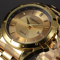 agent - Brand Agent X Gold Classic Date Display Stainless Steel Dial Band Mens Business Quartz Wristwatch Analog Luxury Watches For Men AGX026