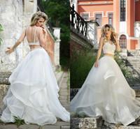 halter top wedding dress - Roberto Motti Crop Top Wedding Dress Ball Gowns Beading Tiers Organza Cutout Two Piece Wedding Princess Gowns Beach Bridal Dresses