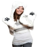 bear hat with paws - Winter Polar Bear Faux Fur Hood Animal Hoods Hat Cap Cartoon Plush Hats With Scarf Paws