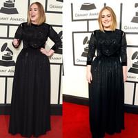 Wholesale 2016 th Adele Adkins Grammy Awards Red carpet Dresses evening gowns sleeves plus Size Evening Dresses Black Celebrity Dresses W6690