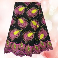 lace fabric wholesale - Wonderful black yellow with fuchsia embroidery African cotton lace fabric TC14 Swiss voile lace fabric for dress
