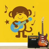 Wholesale DIY Removable Wall Stickers Monkey playing guitar Sticker New