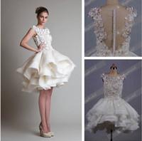 Cheap A-Line organza wedding dresses Best Model Pictures Bateau short wedding dress