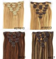 al por mayor cabello virgen más destacado-Clip en extensiones 7pcs / set del pelo humano 5 fijados por CLIP de la Virgen brasileña del resaltado de la porción 7A en extensiones rectas del pelo humano de calidad superior