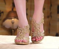 evening shoes - In Stock Gold Sandal Floral Crystal Rhinestones cm High Heels New High Quality Prom Evening Party Dress Lady Bridal Wedding Shoes
