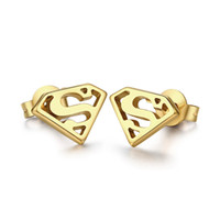 Wholesale Street Hiphop Style One Pair Stainless Steel Gold Stone Superman design Studs Earrings Hot Selling For Men s Best Party Gift