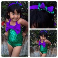 Wholesale New Baby Girls Swimwear Kids Girls One piece Swimsuit Girls biquini infantil Swimwear Bathing Mermaid Beachwear swimsuit