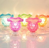 electric oil burner - 5 Color Electric Glass Essential Oil Diffuser Tart Burner Fragrance Oil Aromatherapy Lamp Air Purification Home Decorative LED Lighting