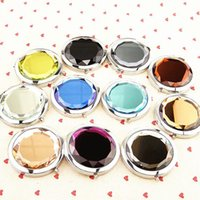 Wholesale 100pcs Mini Portable Pocket Compact Mirrors Crystal Double Sides Make Up Mirror Women s Outdoor Accesories bc601