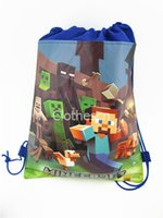 best handbag wholesale - Minecraft Backpack Drawstring Handbags Minions Frozen Anna Elsa Kiddy Non Woven Fabrics String Cartoon Backpack School Swimming Bag Best Gif