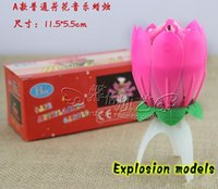 Wholesale Music Candle Blossom Lotus Flower Candle Light Birthday Party Music cake candle Sparkle musical Candle Lotus style with EMS