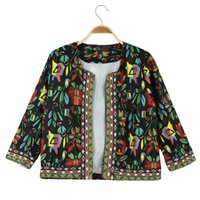 antique embroidered - New Fashion European Women Embroidered Coat Antique Floral Print Long Sleeve Casual Ladies Short Cardigan Jacket Black Beige