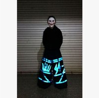 Wholesale Blue Flam Fluorescence Pants Shuffle Phat Pants equipped fluorescence ghost step dancing pants Ghost dance step