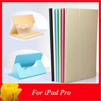 Wholesale For iPad Pro Rotating PU Leather Cases Pure Color Stand Plating Smart Cover For iPad Pro inch Free DHL