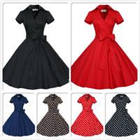 audrey modern - Audrey Hepburn Vintage Style Casual Dresses Modern Ruffles Women European Short Sleeve with Bow Ribbon Lapel Neck Skirts OXL127