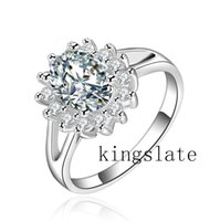 Wholesale 925 sterling Silver fashion Swarovski Elements charm bright Crystal Beautiful Noble ring jewelry R145