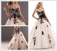 beads motif - 2016 ball gown sequined Black lace motifs over tulle Finished with sweetheart neckline and corset back closure Cosette Wedding Dresses