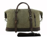 leather weekend bags - Vintage military Leather Canvas men travel bags men weekend luggage bags sports leisure bags duffle bags travel tote