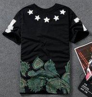 al por mayor camiseta al por mayor de apliques bordados-Camisa de la Al por mayor-Harajuku Camiseta de los hombres de la marca de fábrica de la estrella 4 de la camiseta del applique del bordado Ropa casual Hip Hop Rock Skateboard Pyrex dgk skate