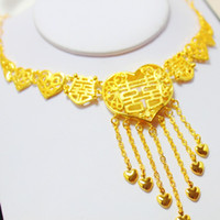 accessories hong kong - Deluxe Double Happiness character on sale in Hong Kong gold shop gold plated necklace bride wedding accessories wedding jewelry love money S