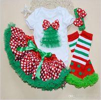 ballet shirts - 100 TOPB4614 colors kids Christmas sets Santa Claus T shirts skirts headband TuTu Pettiskirts Ballet Tulle romper Skirts