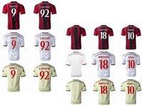 Fútbol AC Milan del fútbol kits de los uniformes del descuento barato AAA Tailandia Tops 9 Torres 92 El Shaarawy # 18 Montolivo 10 Honda hogar lejos 3ª