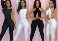 Sleeveless sexy club wear - New Fashion Black White Sexy Women s Bodycon Bodysuit with Halter Twist Bra Bodywear Jumpsuits Sleeveless Backless Party Club Wear