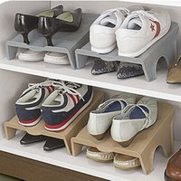 acrylic shoe box - Creative Pastoral Simple Shoes Box Rack Household Plastic Shoes Storage Cabinets Multi functional Shoes Hanger Storage