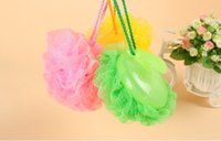 Wholesale New high quanlity handle bath ball g bath sponge around D14cm bath flower three colors could mix color