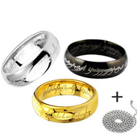 Wholesale lord of the rings Hot Titanium Stainless Steel the one rings MM With Chain cm for women man