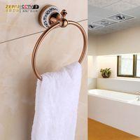 Wholesale Chak send the whole copper bathroom towel hanging towel rack retro ring ring European bathroom towel rack metal pendant rose gold