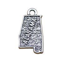 alabama map - New fashion sided antique silver plated Alabama map charms jewelry making DIY metal charms