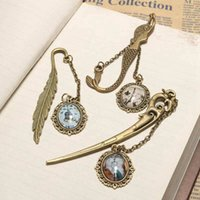 Wholesale Antique Retro Alloy Bronze Metal Bookmark Lovely Pendant Label Signet Gift Book Notebook Clock Decoration