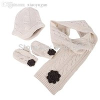 Wholesale Children Knitted Caps Beanies Scarf gloves Sets Baby Boy Girl Winter Warm Crochet Hats Christmas Gift free