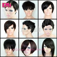 Wholesale 9 kinds short human hair wigs fashion style full none lace wigs for black women factory price cheap straight body kinky curly hair wigs