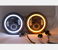 Wholesale 7 Round W Car LED Headlights for Jeep Wrangler unlimited Off road x4 DRL Fog Driving Lamp X10W CREE LED Head Lights with Shift Color