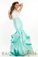 baby beading - Mermad Graduation Prom Dresses Baby Blue RACHEL ALLAN Crew Sleeveless Beaded Satin Black Evening Dress Party Gown Sexy